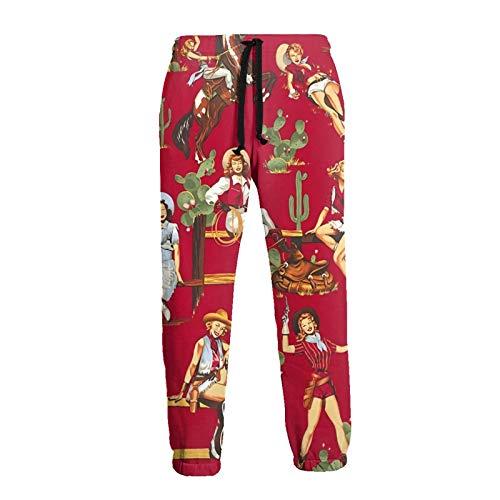 Inaayayi Sexy Americano Rústico Oeste Cultural Vaquera Hombres Mujeres Unisex Divertido Impreso 3D Cordón Bolsillos Casual Entrenamiento Pantalones Deportivos Pantalones