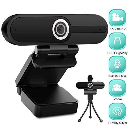 4K HD Webcam with Microphone - 8MP USB Computer Web Camera With Privacy Shutter and Tripod, Pro Streaming Webcam PC Cam Mac Desktop Laptop for Video Calling Online Class Conference Zoom Skype YouTube