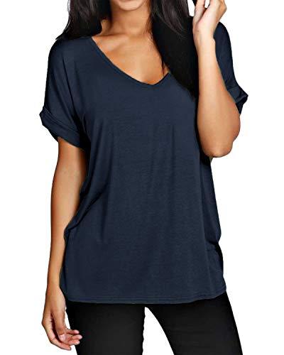 ZANZEA Damen V-Ausschnitte Kurz Fledermausärmel Lose T-Shirt Tops Bluse Navy EU 46/Etikettgröße XL