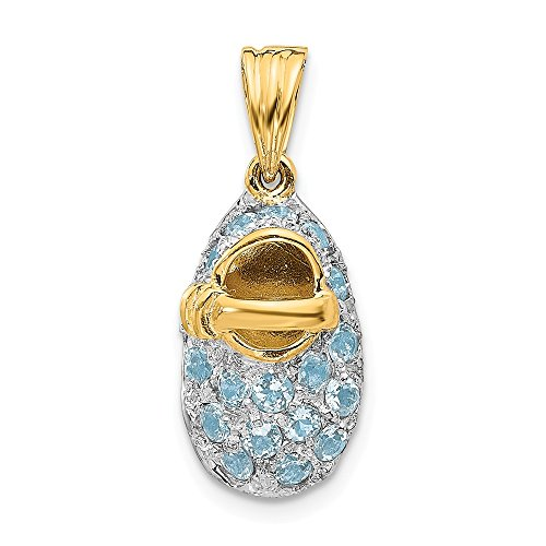 Photo of 14k Yellow Gold and Rhodium Plated Prong-Set March/Aquamarine Baby Shoe Charm Pendant