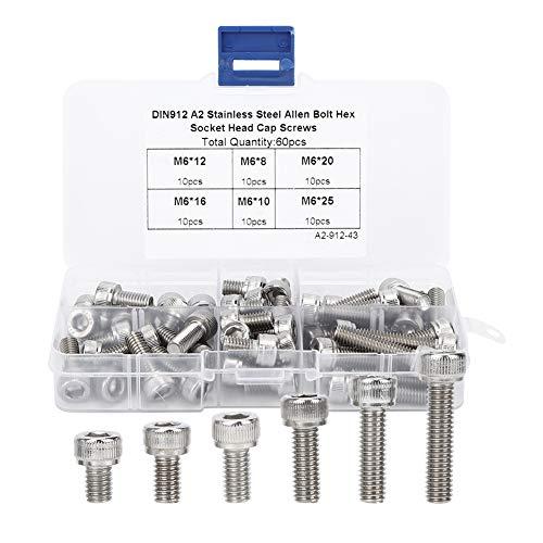 YUN 60 unids Cap Hex Socket Tornillo Set Acero Inoxidable Electrónica Industria Hardware sujetadores M6