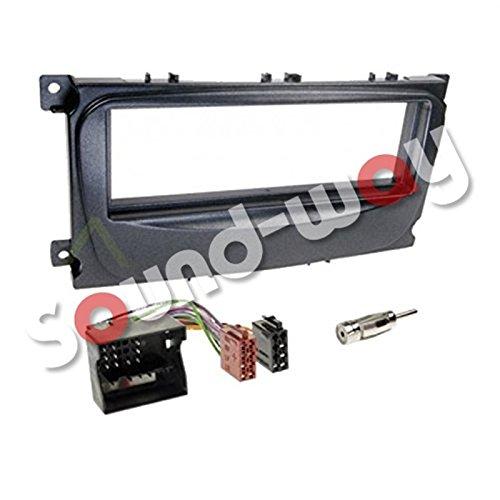 Kit Montage Adaptateur Cadre de Radio façade autoradio 1 DIN Ford Mondeo/Focus/S-Max/Galaxy Noir