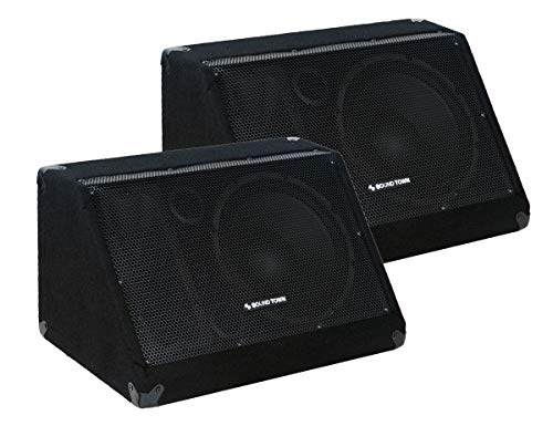 """Sound Town 2-Pack Passive DJ PA Stage Monitor Speakers METIS-10M-PAIR 10"""" 300W with Compression Driver for Live Sound, Bar, Church"""
