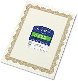 Geographics : Parchment Paper Certificates, 8-1/2 x 11, Optima Gold Border, 25 per Pack -:- Sold as 2 Packs of - 25 - / - Total of 50 Each