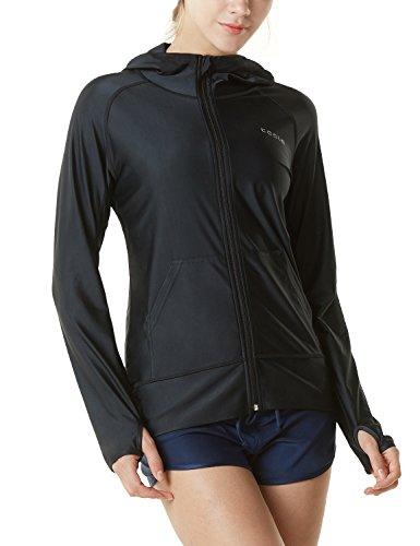 TSLA Women's Hoodie Zip Front Rash Guard, UPF 50+ Long Sleeve Swim Shirts, UV/SPF Sunscreen Wetsuit Swimsuit Top, Sun Block Zip Hoodie(fsz02) - Black, Medium