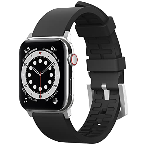elago Premium Correa Deportiva Compatible con Apple Watch Band 38mm 40mm 42mm 44mm, para iWatch Series 6 SE (2020) 5 4 3 2 1, Material Fluoro Goma Smartwatch Reemplazo Band (Negro)