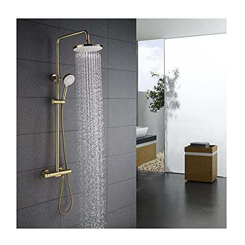 DOTXX Thermostatic Shower Faucet Set with Waterfall Spout, Wall-Mounted Shower System Adjustable...