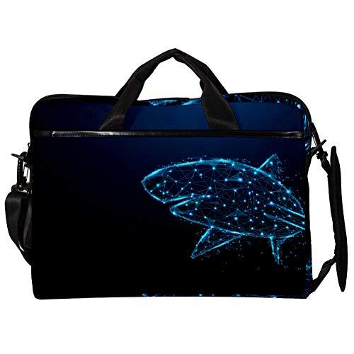TIZORAX Bolsas de Hombro para Mensajero para computadora portátil Starlight Shark Vector Funda para computadora portátil Funda de Transporte Bolso de 15-15.4 Pulgadas