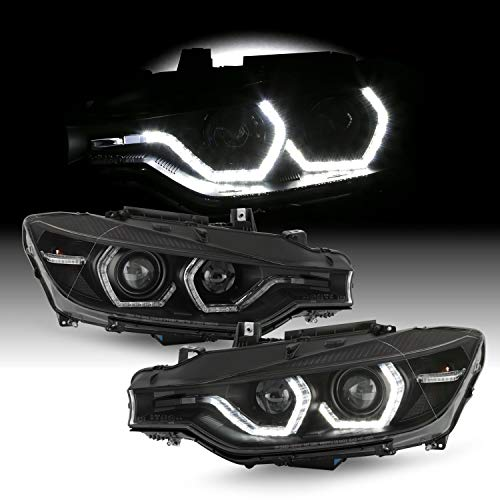 Fits 2012-2015 BMW F30 320i 325i 328d 328i 335i ActiveHybrid 3 [HID/Xenon] w/AFS LED Tube Projector Black Headlights