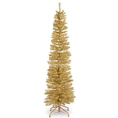 National Tree Company Artificial Christmas Tree | Includes Stand | Champagne Tinsel - 6 ft