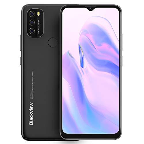 Android 11 Teléfono Blackview A70, Pantalla HD+ 6.5'', 8.3mm Delgado&Liviano, Batería Masiva 5380mAh, Smartphone Octa Core 3GB 32GB,13MP+5MP,Dual SIM Móvil 4G,Desbloqueo Facial&Huella Digital Negro
