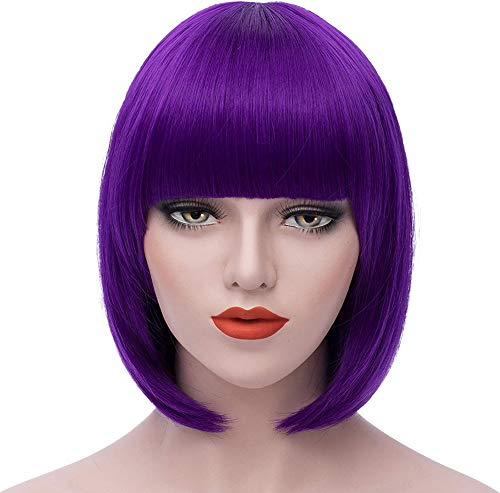 Purple Bob Wigs for Kick-Ass 2 Hit Girl and 1 Wig Cap, Short Straight Flat Bangs, Cool Summer Sexy Stylish Cosplay Party Hair Wigs, wig003PR