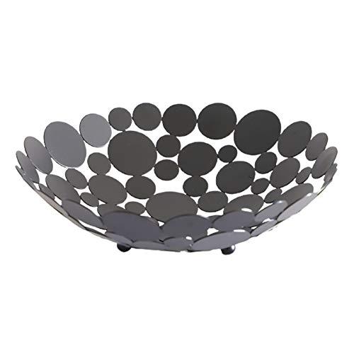 CJFael Cesta de decoración para el tazón de fruta, plato redondo de hierro, cesta de almacenamiento de alimentos, mesa de caramelos, decoración del hogar, color negro
