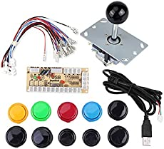 Zyyini DIY Game Buttons Set, Null Delay Arcade Game DIY Kits Parts with 10 Buttons, Joystick and USB Encoder for MAME PC etc.