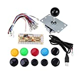 Botones Arcade de 1 jugador y Joystick DIY Controller Kit para Windows y Raspberry Pi, Joysticks x 5 pines con 10 botones