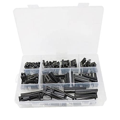 IC Socket Kit Doual Filas de soldadura Tipo Adaptador Agujero cuadrado 2.54mm IC Kit de chip DIP 18/6/14/11/18/24/200/18/18/24/28/40 Pines 122pcs Componentes de control negro industrial
