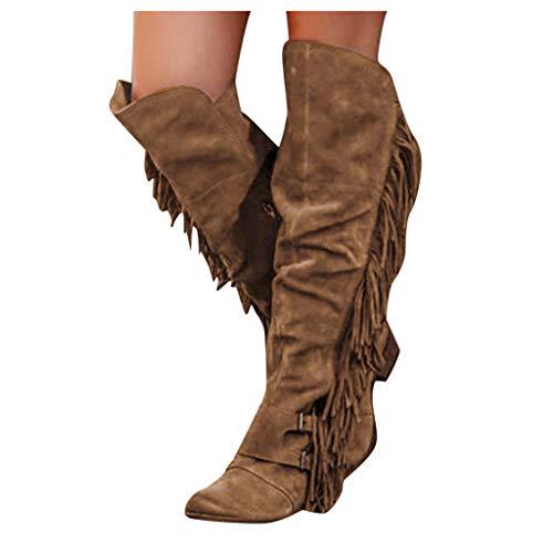 Damen Reißverschluss Kniehohe Stiefel Lange Stiefel Mode Quaste Overknees Stiefel Warm Gefüttert Lederstiefel Bequeme Winterstiefel Warm Retro Hohe Stiefel Reiterstiefel rutschfeste Biker Boots