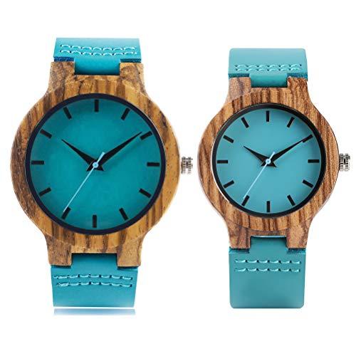 Kikier Armbanduhr aus natürlichem Holz mit Quarzuhrwerk, echtes Lederarmband, Holz, Geschenk für Männer und Frauen, FA0922116_C-1254-1410546721, Female + Male, ouple