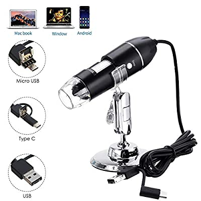 USB Digital Microscope, JUN-L 3 in 1 Handheld 50X-1000X Magnification Endoscope, 8 LED Mini Video Camera for Windows 7/8/10 Mac Linux Android