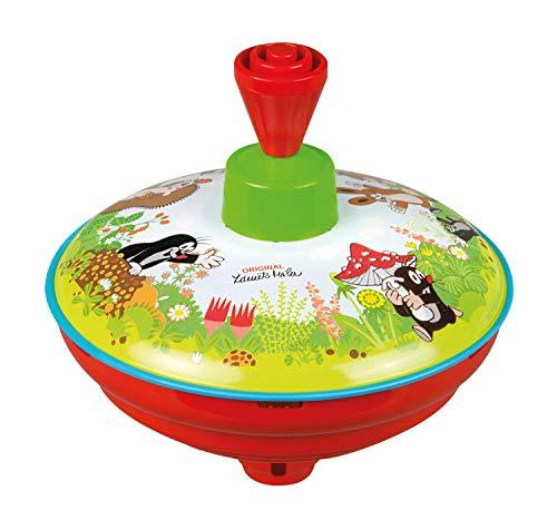 Lena 52449 x Brummkreisel Ø13 cm Der kleine Maulwurf, Metall Kreisel, Schwungkreisel aus Blech, klassischer Pumpkreisel, Blechkreisel mit Spitze, Spielzeugkreisel für Kinder ab 18 Monate, Bunt