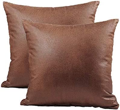 Shamrockers Pack of 2 Faux Leather Throw Pillow Cover Home Decoration Pillowcase Brown 18 x product image