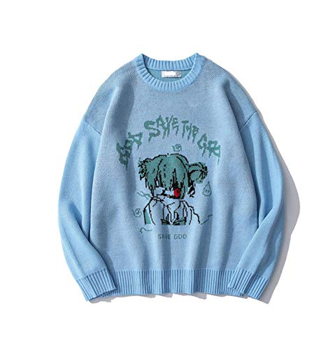 Japanese Style Anime Girl Knitted Sweater Mens Hip Hop Streetwear Sweater Vintage Retro Pullover