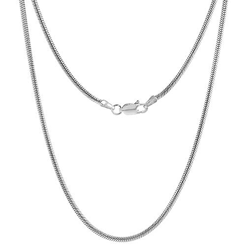 Hot Sale Sterling Silver Italian Snake Chain Necklace medium thick 2mm Nickel Free, 24 inch