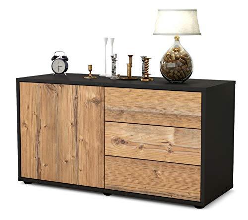 Stil.Zeit Möbel TV Schrank Lowboard Alessandra, Korpus in anthrazit matt/Front im Holz Design Pinie (92x49x35cm), mit Push to Open Technik und hochwertigen Leichtlaufschienen, Made in Germany