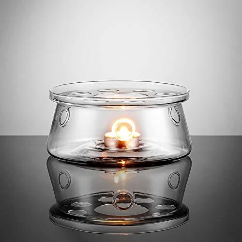 ecooe Stövchen Teewärmer Kaffeewärmer aus Glas, Teelicht und Teekanne ist Nicht enthalten
