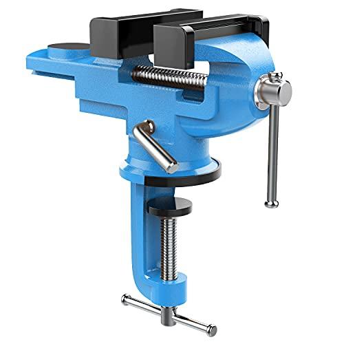 """Nuovoware 360° Drehbar Schraubstock, 2.8\""""/70 mm Universal Tischschraubstock mit Amboss und Achse Fixieren Feststehend von Werkstück für Holzbearbeitung, Metallbearbeitung, Schneidleitung - Himmelblau"""