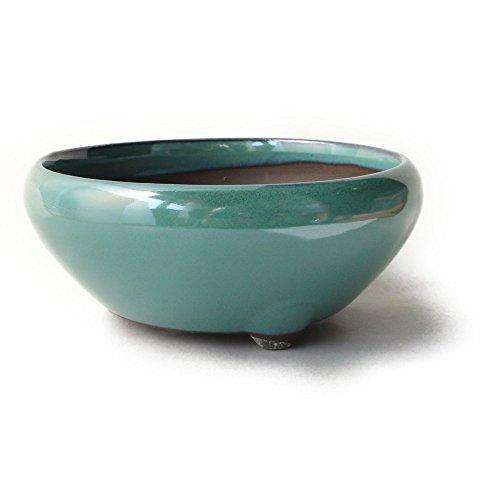 Bonsai Ceramic Pot Round Shape Three Legs Glazed (6, Oribe-Yu)
