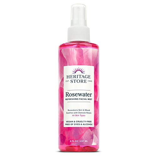 Heritage Store Rosewater | Refreshing Facial Mist for Glowing Skin | No Dyes or Alcohol | Vegan & Cruelty Free (8oz)