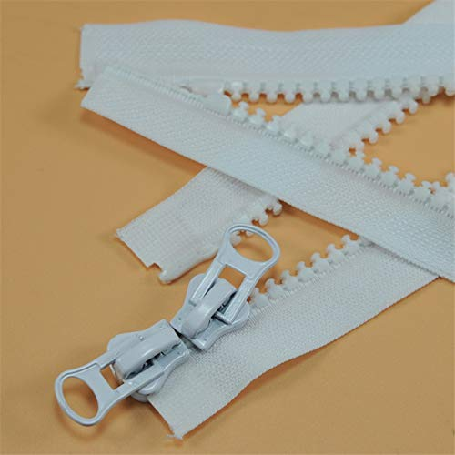 LKJH 5# hars ritsen for het naaien grof tand dubbele dubbele open rits slaapzak tent donsjack rits zwart wit (Color : White, Size : 90CM)