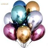 JUNSHUO 50 PCS Globos metalicos de Fiesta Perla de Metal Brillante Latex 12 'de Espesor Aleación de Cromo nacarado inflables de Aire para Cumpleaños Despedida de Soltera - Colores Variados(12inch)