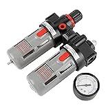 Compresor de presión de aire Filtro PT1 / 4 Gauge Trampa Aceite Regulador de agua Kit de...
