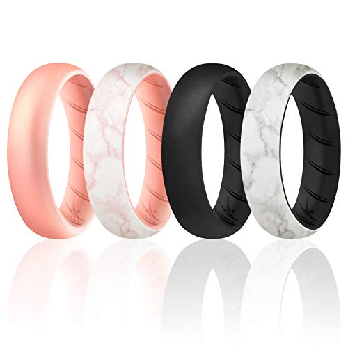ROQ Silicone Rings for Women Breathable Silicone Rings Bands - Comfort Fit Silicone Wedding Ring for Women - Black, Rose Gold, Marble Colors - Size 7