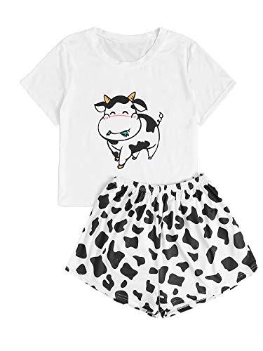 DIDK Damen Sommer Pjama Set Schlafanzüge Hausanzug Casual Loungewear Sleepwear mit Kurz T-Shirts Hose PJ mit Kuhmuster Weiß #089 L