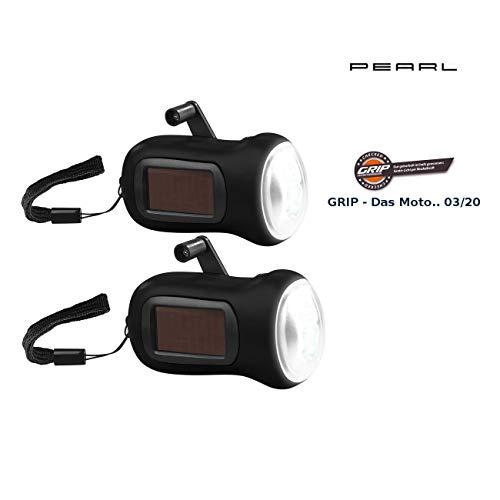 PEARL Kurbellampe: 2er-Set Dynamo-Akku-Taschenlampe mit Solarpanel, 3 LEDs, 0,4 W, 20 lm (Taschenlampe mit Kurbel)
