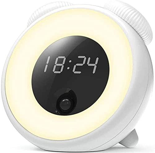 LATOO Lámpara de escritorio Lámpara de escritorio Sunrise Reloj despertador Luz de despertador, simulador de puesta del sol, luz nocturna, función de repetición y sensible al tacto (color verde)
