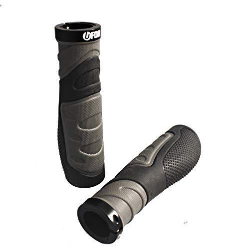 UFOR Submarine Ergonomic Mountain Bike Handlebar Grips, Dual Color Single Lock-On Locking Ring MTB & BMX Bicycle Grips