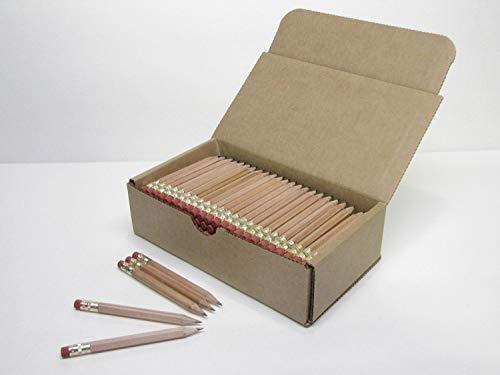 Half Pencils with Eraser - Golf, Classroom, Pew, Short, Mini, Non Toxic, Wooden, Hexagon, Sharpened, 2 Pencil, Color - Natural Wood, Box of 72, (Half Gross) Golf Pocket Pencils TM