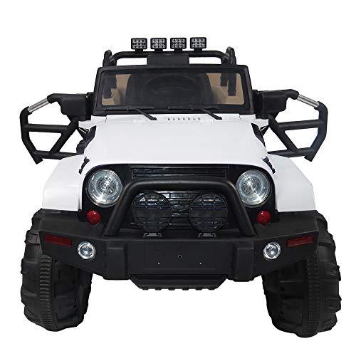 Review sddfor 12V Kids Ride On Car Truck, Kids Simulation Car with Remote Control, Built-in LED Lights, Bluetooth, Double Open Doors, Safety Belt
