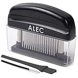 ALEC [ミートテンダーライザー/洗浄ブラシ 大小2本付き ]ブラック ステンレス製 肉筋切り器 ミートソフター 肉たたき
