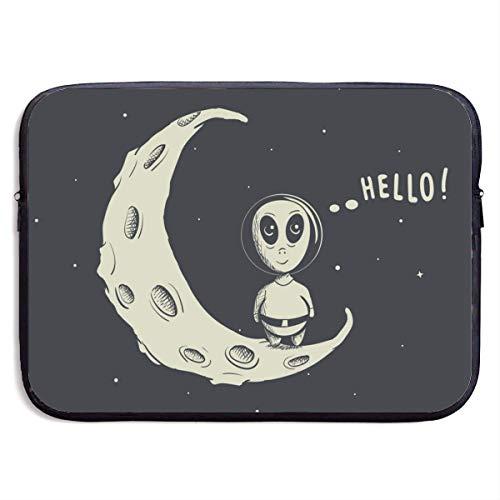 Lustige Alien Astronaut Hallo 13-15 Zoll Laptop-hülle Tasche tragbare dual reißverschluss Tasche Tasche Halter Tablet Tasche, wasserdicht, schwarz, 13 Zoll