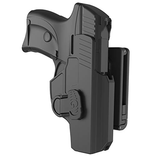 Belt Holster Custom Fit for Ruger LC9 LC9s LC380 EC9 EC9S, 60° Adjustable Polymer Tactical Outside Waistband OWB Holster with Index Finger Trigger Release, Open Carry Holsters, Right-Handed, Black