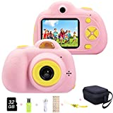 ToyZoom Macchina Fotografica per Bambini, 18MP Bambina Fotocamera Digitale Selfie 1080P HD Videocamera per Bambine/ Scheda 32GB Inclusa (Rosa)