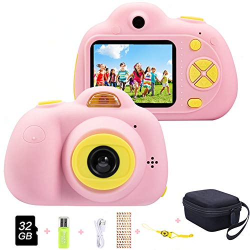 Cámara para niños ToyZoom Cámara de Fotos Digital 2 Objetivos Selfie 8MP Cámara Digital 1080P HD Videocámaras para Niños Niñas con Zoom Digital 4X, Flash Lights , 2