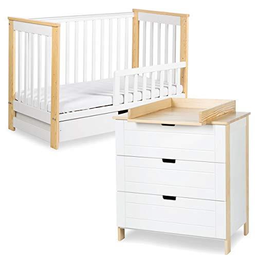MonMobilierDesign IWO Ensemble Commode à Langer + lit bébé