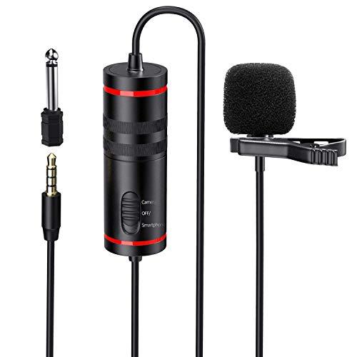 PLOTURE D1 Professionell Lavalier Mikrofon für Handy iPhone Android und Canon/Nikon Kamera/PC - mit Geräuschreduzierung System, 6,5mm Adapter, leichtes 8m Kabel