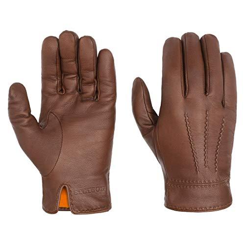 Stetson Soft Nappa Lederhandschuhe Herren - Fingerhandschuhe mit Futter aus Baumwolle - Handschuhe aus Leder (Ziege) Herbst/Winter - Herrenhandschuhe braun 9 HS